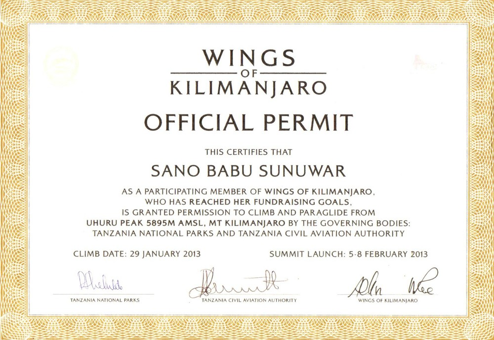 Wings of Kilimanjaro Official Permit
